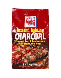 Fuel Express Instant-Light Lumpwood Charcoal 2 x 1kg bags