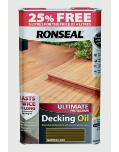 Ronseal Ultimate Protect Decking Oil 4L + 25% Free Natural Oak