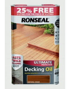 Ronseal Ultimate Protect Decking Oil 4L + 25% Free Natural Cedar