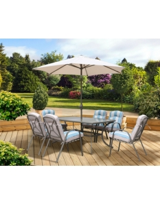 Pagoda Roma Dining Set With Parasol 6 Seat