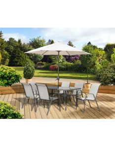 Pagoda Rhodes 6 Seat Set With Parasol
