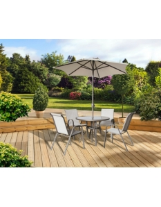 Pagoda Rhodes 4 Seat Set With Parasol