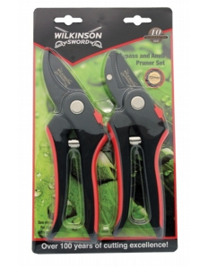 Wilkinson Sword Bypass & Anvil Pruners Twin Pack On Blister Card