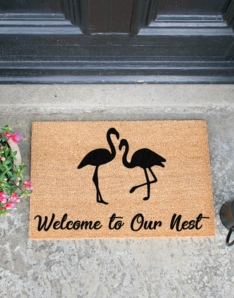 Welcome To Our Nest Flamingo Doormat